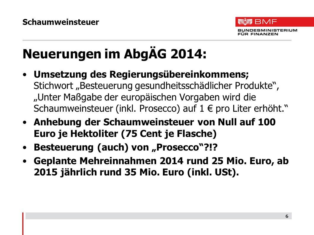 Schaumweinsteuer Vorgaben der EU-RL 92/83/EWG und 92/84/EWG: auf alle Arten nicht schäumenden Weins und anderer nicht schäumender gegorener Getränke (als Bier und Wein) ist grds.