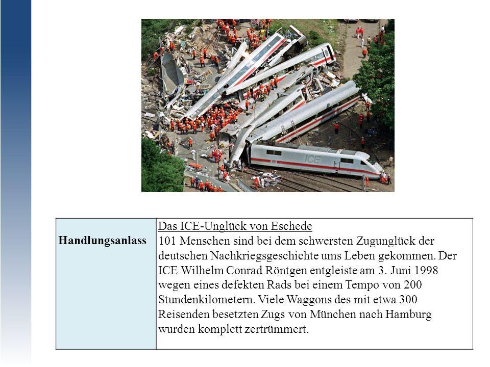 Handlungsanlass Das ICE-Unglück von Eschede 101 Menschen sind bei dem schwersten Zugunglück der deutschen Nachkriegsgeschichte ums Leben gekommen. Der
