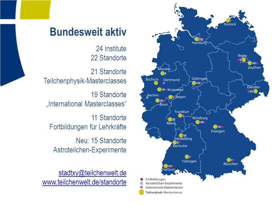 Bundesweit aktiv 24 Institute 22 Standorte 21 Standorte Teilchenphysik-Masterclasses 19 Standorte International Masterclasses 11 Standorte Fortbildung