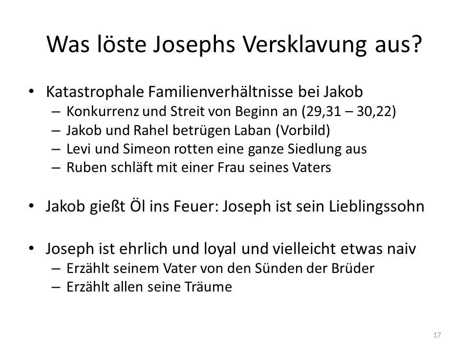 Was löste Josephs Versklavung aus? Katastrophale Familienverhältnisse bei Jakob – Konkurrenz und Streit von Beginn an (29,31 – 30,22) – Jakob und Rahe
