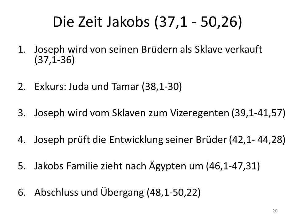 Die Zeit Jakobs (37,1 - 50,26) 1.Joseph wird von seinen Brüdern als Sklave verkauft (37,1-36) 2.Exkurs: Juda und Tamar (38,1-30) 3.Joseph wird vom Sklaven zum Vizeregenten (39,1-41,57) 4.Joseph prüft die Entwicklung seiner Brüder (42,1- 44,28) 5.Jakobs Familie zieht nach Ägypten um (46,1-47,31) 6.Abschluss und Übergang (48,1-50,22) 20