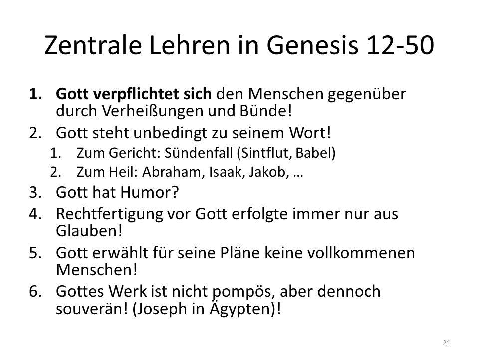 Zentrale Lehren in Genesis 12-50 1.Gott verpflichtet sich den Menschen gegenüber durch Verheißungen und Bünde! 2.Gott steht unbedingt zu seinem Wort!