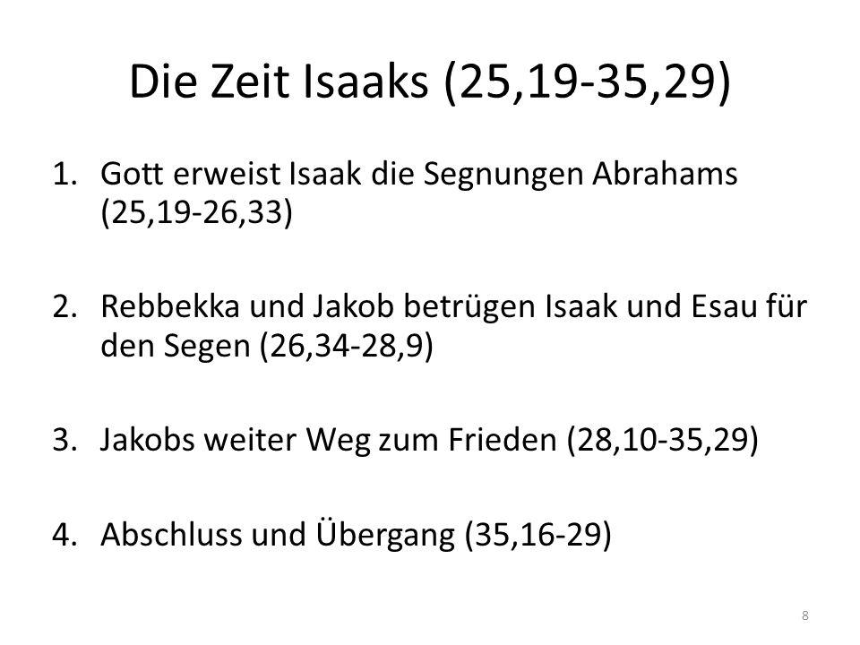 Die Zeit Isaaks (25,19-35,29) 1.Gott erweist Isaak die Segnungen Abrahams (25,19-26,33) 2.Rebbekka und Jakob betrügen Isaak und Esau für den Segen (26,34-28,9) 3.Jakobs weiter Weg zum Frieden (28,10-35,29) 4.Abschluss und Übergang (35,16-29) 8