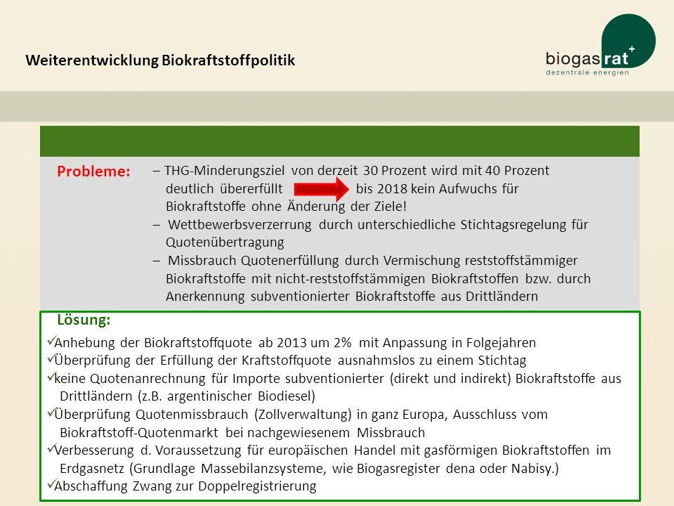 Weiterentwicklung Biokraftstoffpolitik Probleme: 25 THG-Minderungsziel von derzeit 30 Prozent wird mit 40 Prozent deutlich übererfüllt bis 2018 kein A