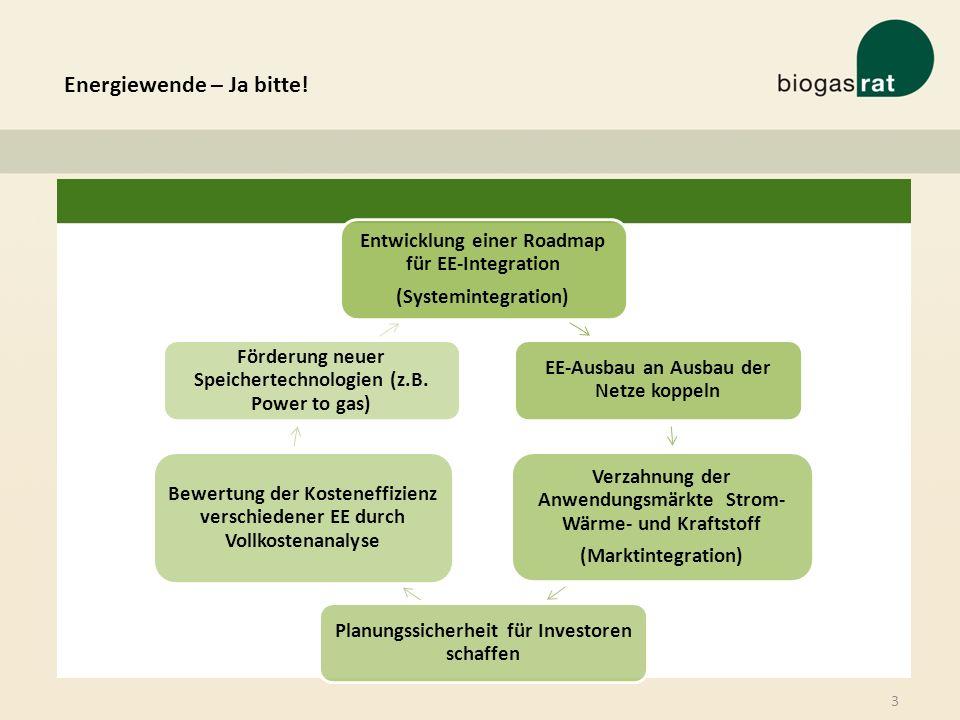 Energiewende – Ja bitte! 3 Entwicklung einer Roadmap für EE-Integration (Systemintegration) EE-Ausbau an Ausbau der Netze koppeln Verzahnung der Anwen