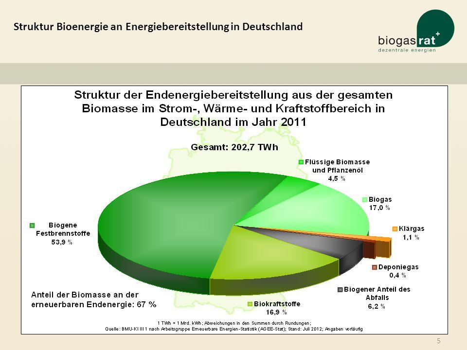 5 Struktur Bioenergie an Energiebereitstellung in Deutschland