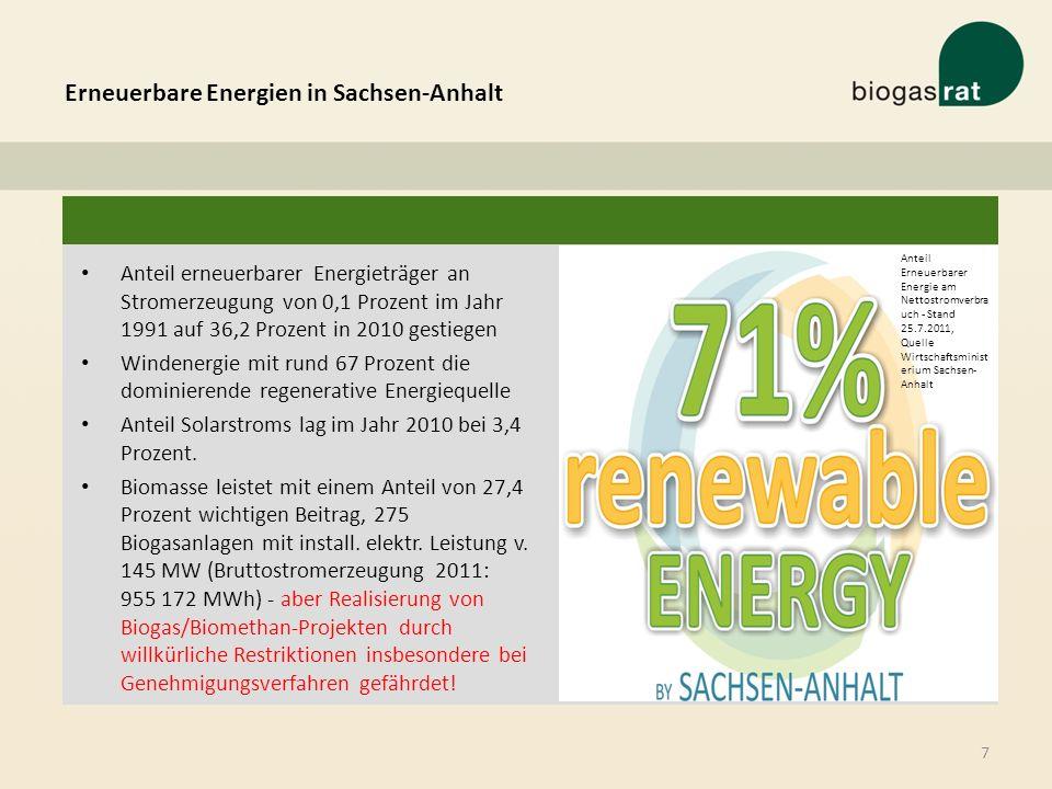 Erneuerbare Energien in Sachsen-Anhalt 7 Anteil erneuerbarer Energieträger an Stromerzeugung von 0,1 Prozent im Jahr 1991 auf 36,2 Prozent in 2010 ges