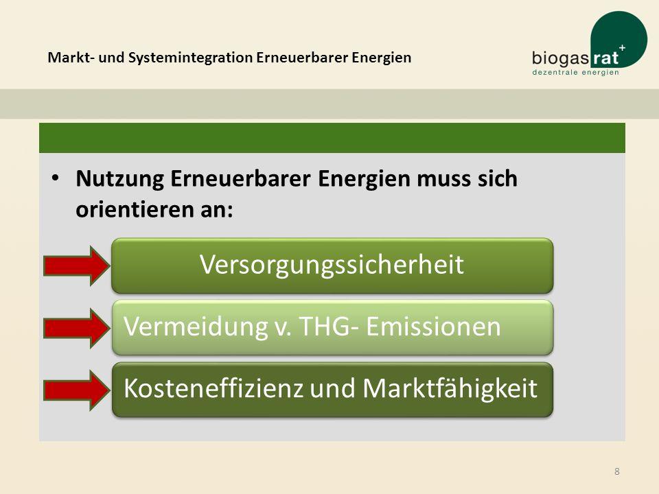 8 Nutzung Erneuerbarer Energien muss sich orientieren an: VersorgungssicherheitVermeidung v. THG- EmissionenKosteneffizienz und Marktfähigkeit Markt-