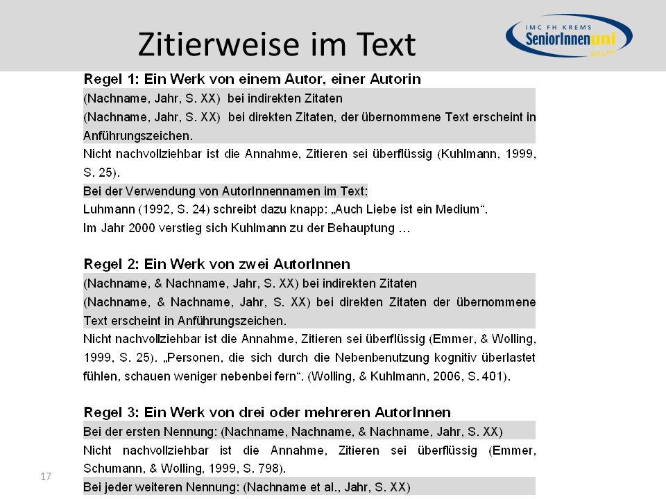 Zitierweise im Text 17