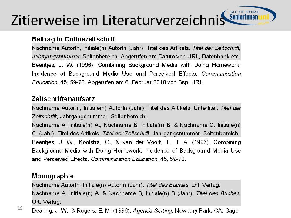 Zitierweise im Literaturverzeichnis 19