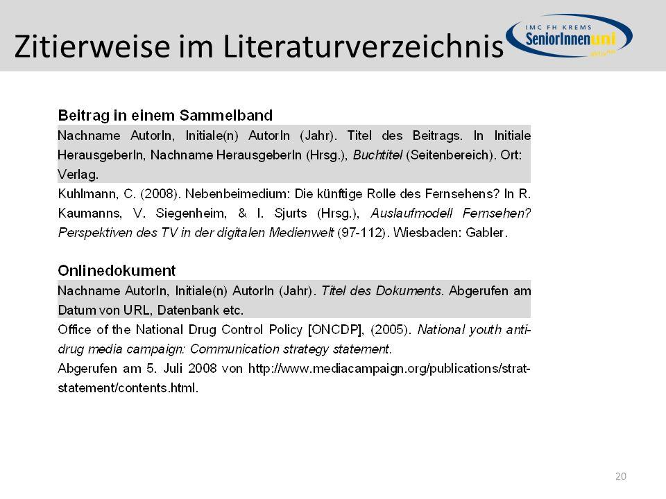 Zitierweise im Literaturverzeichnis 20