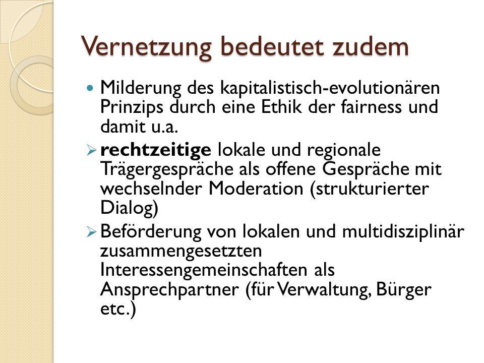 Vernetzung bedeutet zudem Milderung des kapitalistisch-evolutionären Prinzips durch eine Ethik der fairness und damit u.a.