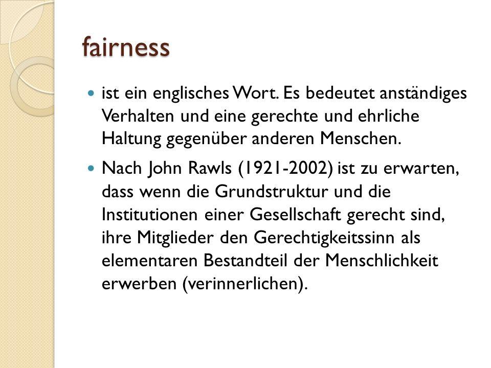 fairness ist ein englisches Wort.