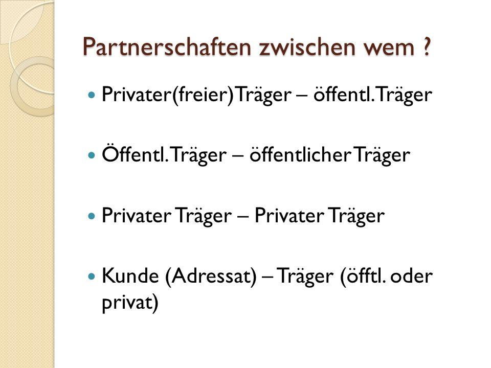 Partnerschaften zwischen wem . Privater(freier)Träger – öffentl.
