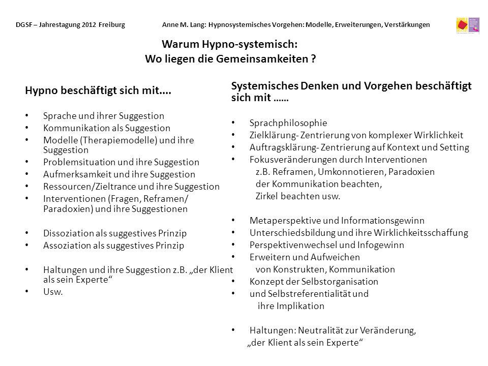 Hypno beschäftigt sich mit.... Sprache und ihrer Suggestion Kommunikation als Suggestion Modelle (Therapiemodelle) und ihre Suggestion Problemsituatio