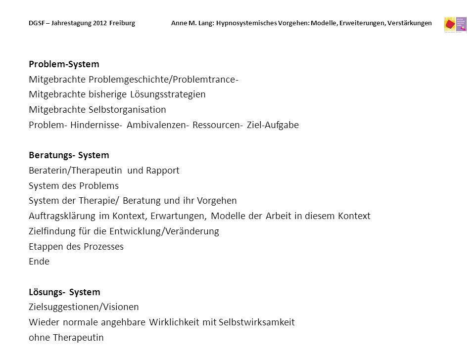 Problem-System Mitgebrachte Problemgeschichte/Problemtrance- Mitgebrachte bisherige Lösungsstrategien Mitgebrachte Selbstorganisation Problem- Hindern