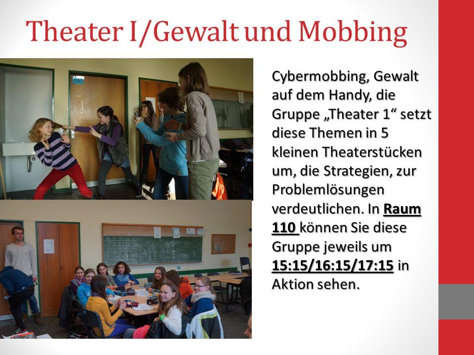 Theater I/Gewalt und Mobbing Cybermobbing, Gewalt auf dem Handy, die Gruppe Theater 1 setzt diese Themen in 5 kleinen Theaterstücken um, die Strategie