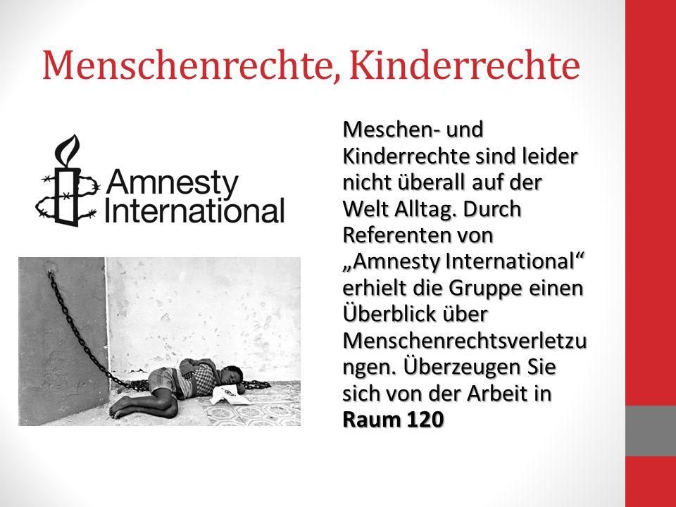 Menschenrechte, Kinderrechte Meschen- und Kinderrechte sind leider nicht überall auf der Welt Alltag. Durch Referenten von Amnesty International erhie