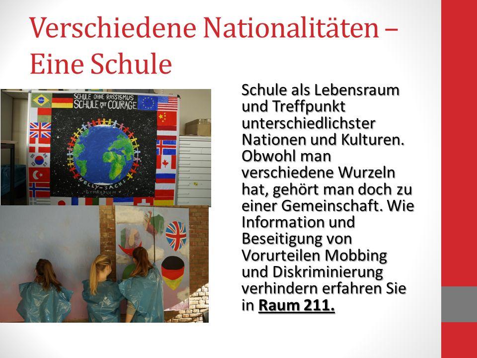 Verschiedene Nationalitäten – Eine Schule Schule als Lebensraum und Treffpunkt unterschiedlichster Nationen und Kulturen. Obwohl man verschiedene Wurz