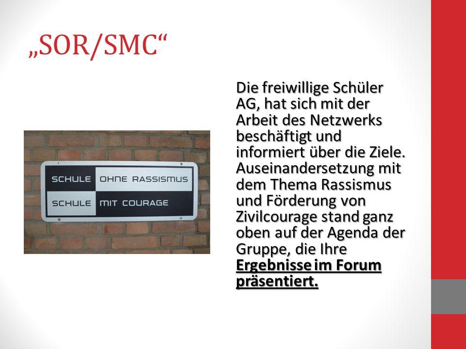SOR/SMC Die freiwillige Schüler AG, hat sich mit der Arbeit des Netzwerks beschäftigt und informiert über die Ziele. Auseinandersetzung mit dem Thema