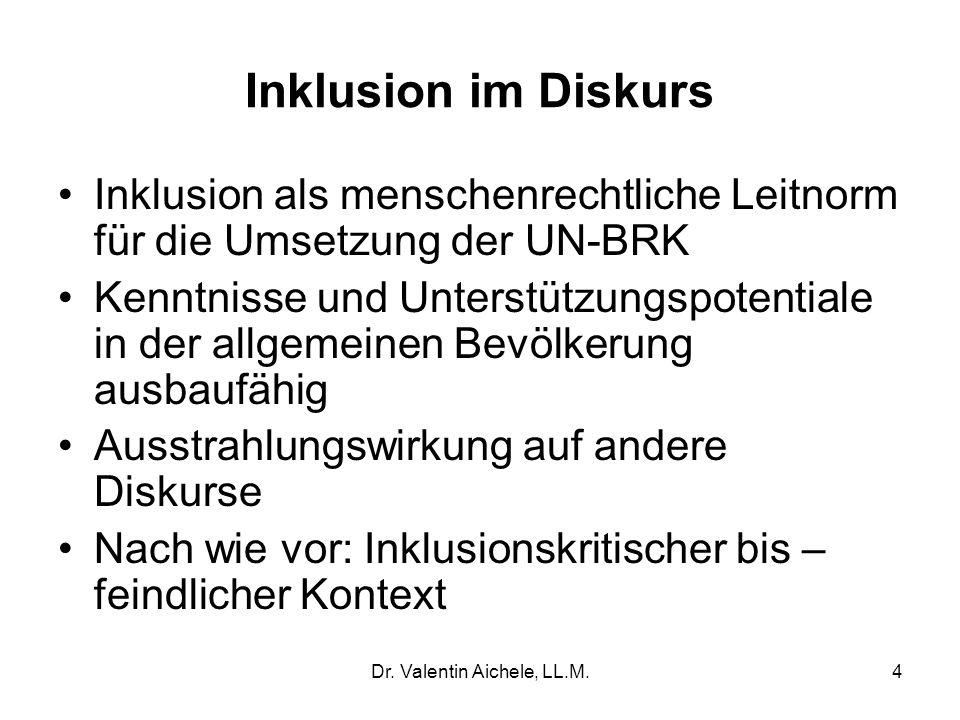 Inklusion im Diskurs Inklusion als menschenrechtliche Leitnorm für die Umsetzung der UN-BRK Kenntnisse und Unterstützungspotentiale in der allgemeinen