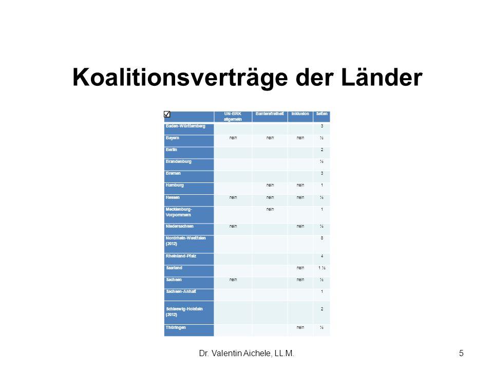 Koalitionsverträge der Länder UN-BRK allgemein BarrierefreiheitInklusion Seiten Baden-Württemberg 3 Bayern nein ½ Berlin 2 Brandenburg ½ Bremen 3 Hamb