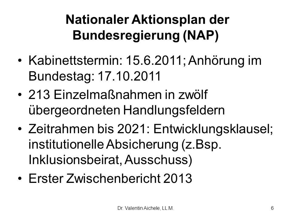 Nationaler Aktionsplan der Bundesregierung (NAP) Kabinettstermin: 15.6.2011; Anhörung im Bundestag: 17.10.2011 213 Einzelmaßnahmen in zwölf übergeordn