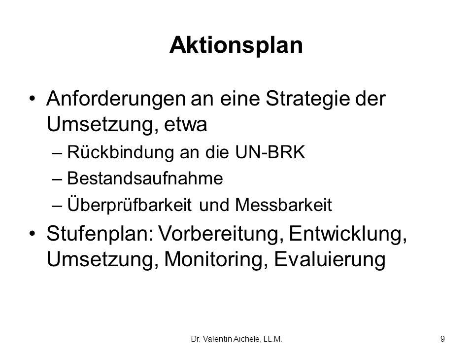 Dr. Valentin Aichele, LL.M.9 Aktionsplan Anforderungen an eine Strategie der Umsetzung, etwa –Rückbindung an die UN-BRK –Bestandsaufnahme –Überprüfbar
