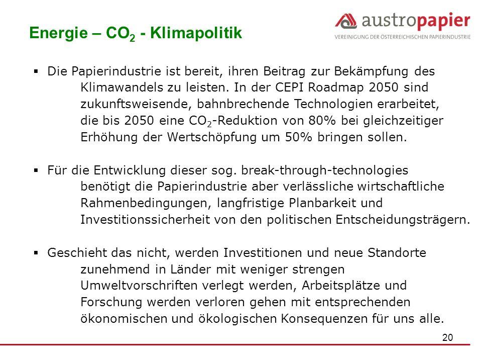 20 Energie – CO 2 - Klimapolitik Die Papierindustrie ist bereit, ihren Beitrag zur Bekämpfung des Klimawandels zu leisten. In der CEPI Roadmap 2050 si