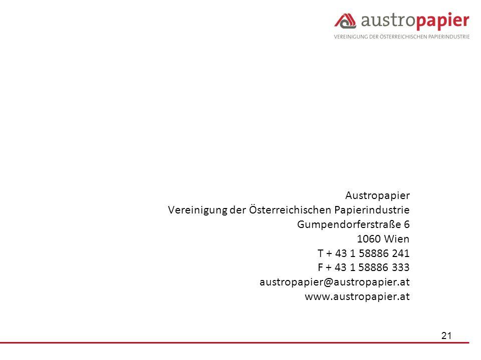 Austropapier Vereinigung der Österreichischen Papierindustrie Gumpendorferstraße 6 1060 Wien T + 43 1 58886 241 F + 43 1 58886 333 austropapier@austro