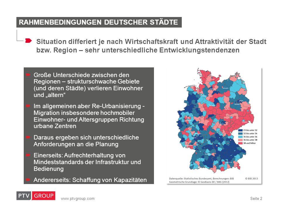 www.ptvgroup.com Seite 2 Große Unterschiede zwischen den Regionen – strukturschwache Gebiete (und deren Städte) verlieren Einwohner und altern Im allg