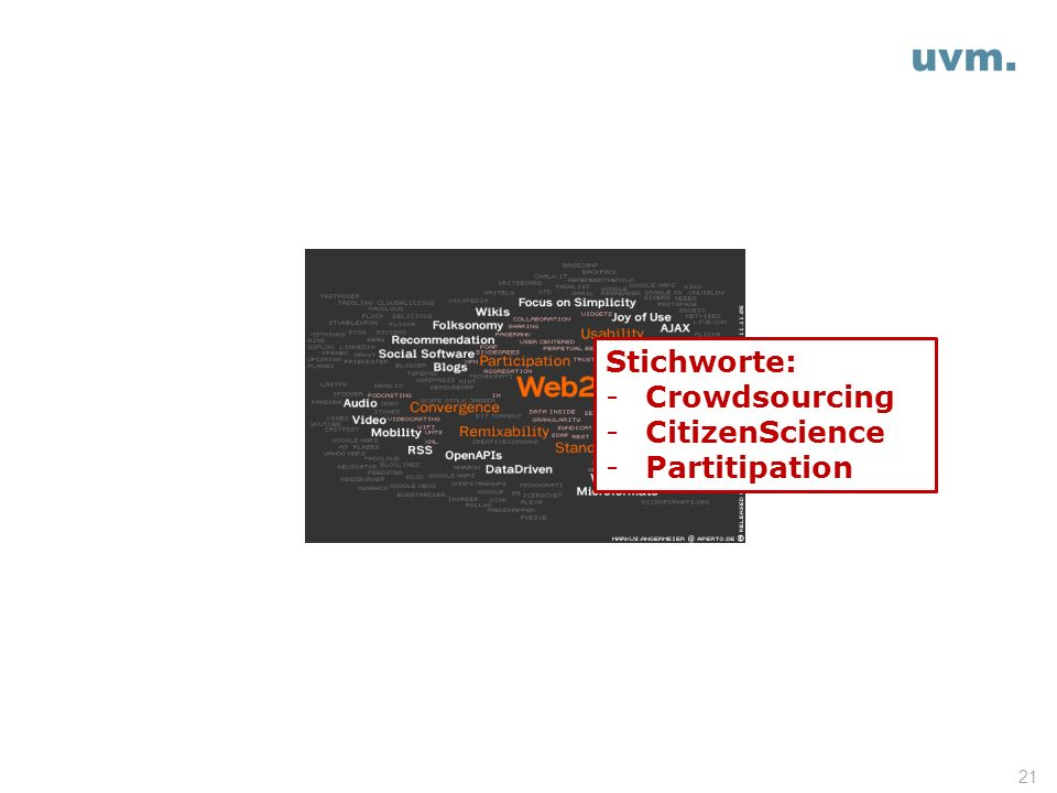 uvm. 21 Stichworte: -Crowdsourcing -CitizenScience -Partitipation