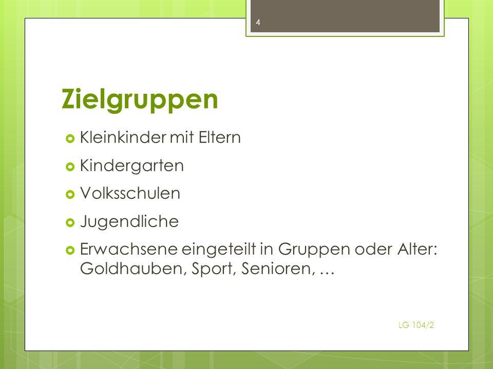 Zielgruppen Kleinkinder mit Eltern Kindergarten Volksschulen Jugendliche Erwachsene eingeteilt in Gruppen oder Alter: Goldhauben, Sport, Senioren, … 4 LG 104/2