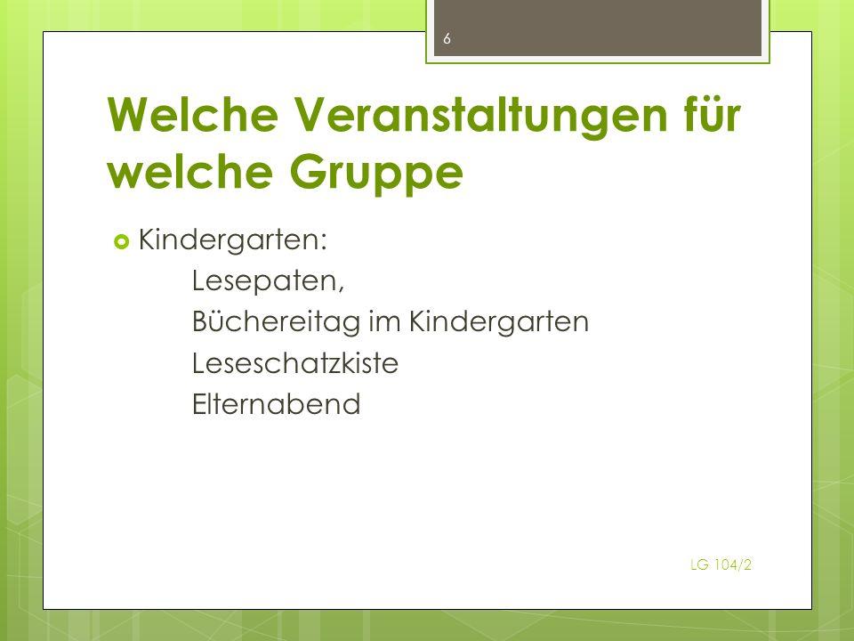 Welche Veranstaltungen für welche Gruppe Kindergarten: Lesepaten, Büchereitag im Kindergarten Leseschatzkiste Elternabend 6 LG 104/2