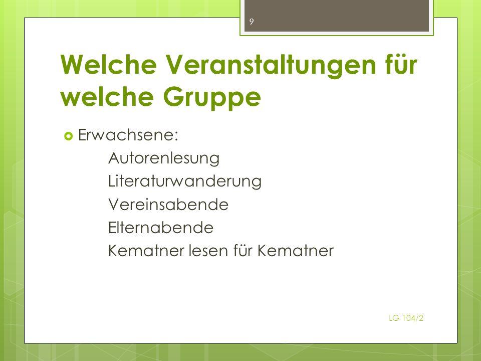 Welche Veranstaltungen für welche Gruppe Erwachsene: Autorenlesung Literaturwanderung Vereinsabende Elternabende Kematner lesen für Kematner 9 LG 104/2