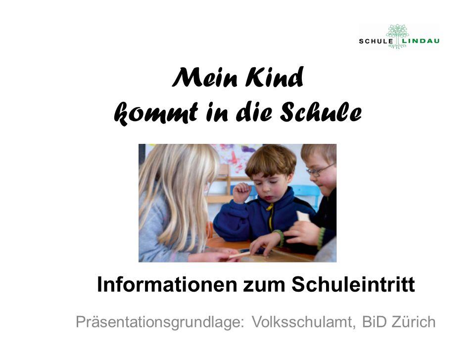 Mein Kind kommt in die Schule Informationen zum Schuleintritt Präsentationsgrundlage: Volksschulamt, BiD Zürich
