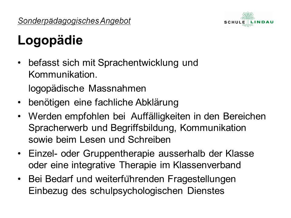 Sonderpädagogisches Angebot Logopädie befasst sich mit Sprachentwicklung und Kommunikation.