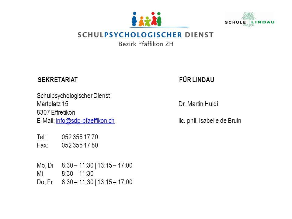 SEKRETARIATFÜR LINDAU Schulpsychologischer Dienst Märtplatz 15 8307 Effretikon E-Mail: info@sdp-pfaeffikon.chinfo@sdp-pfaeffikon.ch Tel.:052 355 17 70 Fax:052 355 17 80 Dr.