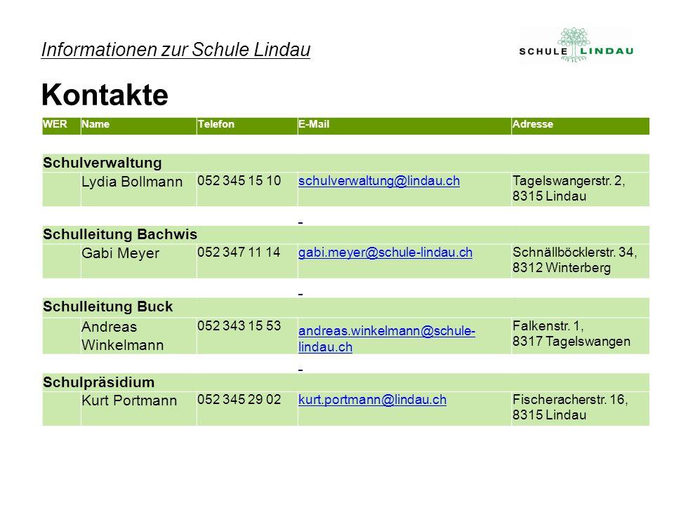 WERNameTelefonE-MailAdresse Schulverwaltung Lydia Bollmann 052 345 15 10schulverwaltung@lindau.chTagelswangerstr.