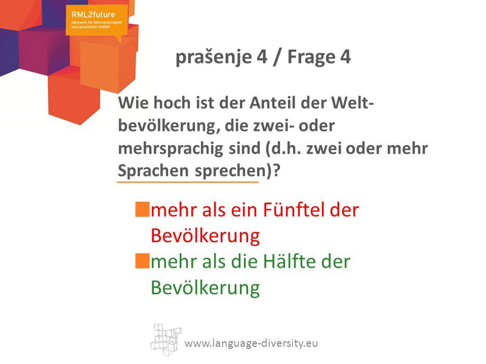 Wie hoch ist der Anteil der Welt- bevölkerung, die zwei- oder mehrsprachig sind (d.h.