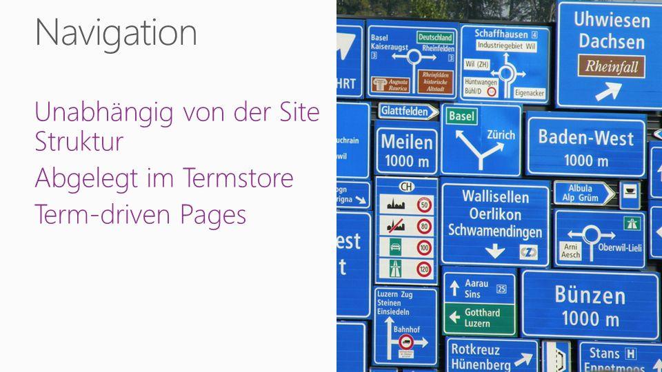 Unabhängig von der Site Struktur Abgelegt im Termstore Term-driven Pages