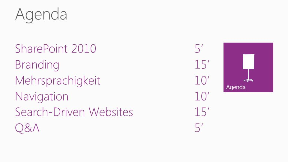 Agenda SharePoint 20105 Branding15 Mehrsprachigkeit10 Navigation10 Search-Driven Websites15 Q&A5