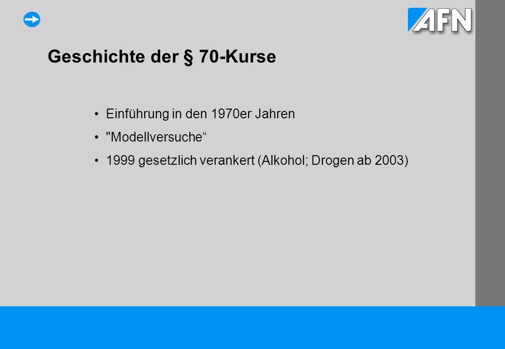 Geschichte der § 70-Kurse Einführung in den 1970er Jahren Modellversuche 1999 gesetzlich verankert (Alkohol; Drogen ab 2003)