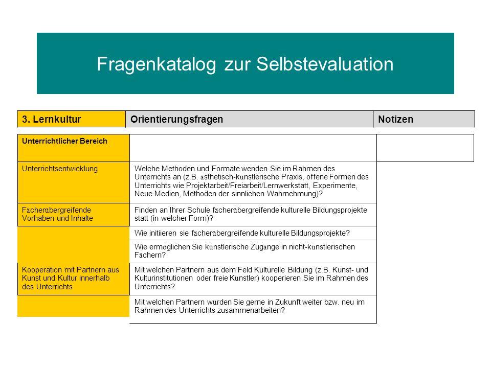 Fragenkatalog zur Selbstevaluation 3. LernkulturOrientierungsfragenNotizen Unterrichtlicher Bereich UnterrichtsentwicklungWelche Methoden und Formate