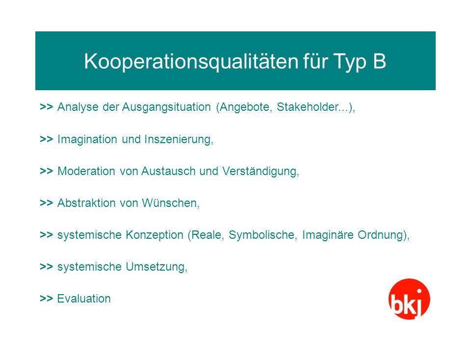 Kooperationsqualitäten für Typ B >>Analyse der Ausgangsituation (Angebote, Stakeholder...), >>Imagination und Inszenierung, >>Moderation von Austausch