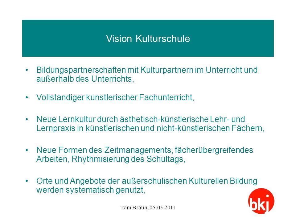 Tom Braun, 05.05.2011 Vision Kulturschule Bildungspartnerschaften mit Kulturpartnern im Unterricht und außerhalb des Unterrichts, Vollständiger künstl
