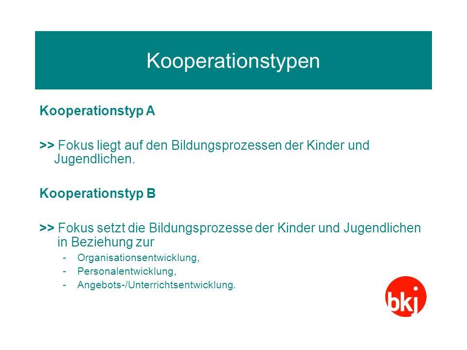 Kooperationstypen Kooperationstyp A >> Fokus liegt auf den Bildungsprozessen der Kinder und Jugendlichen. Kooperationstyp B >> Fokus setzt die Bildung