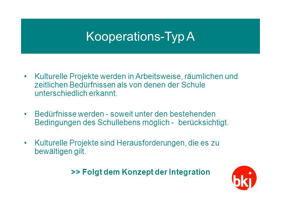 Problematik Kooperationstyp A Kulturelle Projekte sind Ausnahmen, denen ein Schonraum gewährt wird.