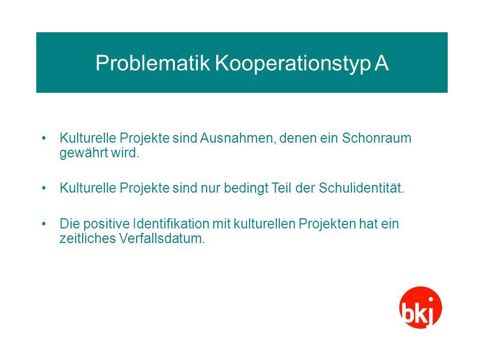 Problematik Kooperationstyp A Kulturelle Projekte sind Ausnahmen, denen ein Schonraum gewährt wird. Kulturelle Projekte sind nur bedingt Teil der Schu