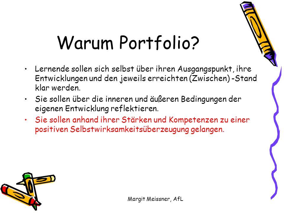 Margit Meissner, AfL Warum Portfolio? Lernende sollen sich selbst über ihren Ausgangspunkt, ihre Entwicklungen und den jeweils erreichten (Zwischen) -